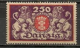 Timbres - Allemagne - Etranger - Dantzig - 1923 - 250 Mark -