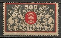 Timbres - Allemagne - Etranger - Dantzig - 1923 - 500 Mark -