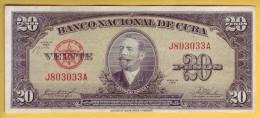 CUBA - Billet de 20 Pesos. 1958. Pick: 80b. TTB+