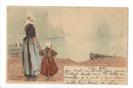 10904 - Volendam Hlassiers   Femme Et Enfant Barque En 1899 - Costumes
