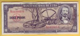 CUBA - Billet de 10 Pesos. 1960. Pick: 88c. TTB+