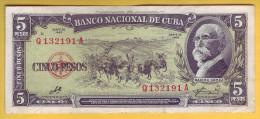 CUBA - Billet de 5 Pesos. 1960. Pick: 91c. TTB+