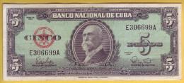 CUBA - Billet De 5 Pesos. 1960. Pick: 92a. TTB+ - Cuba