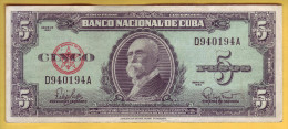 CUBA - Billet de 5 Pesos. 1960. Pick: 92a. TTB+