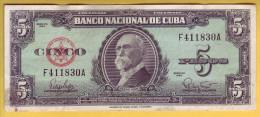 CUBA - Billet de 5 Pesos. 1960. Pick: 92a. TTB