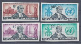 RWANDA - 1966 -  VISITE DU PAPE PAUL VI AUX NATIONS UNIES -  SERIE NON DENTELEE N° 144 à 147 - XX - MNH -  COTE : 30.€ - - Rwanda