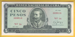 CUBA - Billet de 5 Pesos. 1990. Pick: 103d. NEUF