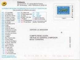 CP  - Phil@poste -  Entier Mon Timbre à Moi Bleu - Validité Monde 20g. 2009 - Entiers Postaux