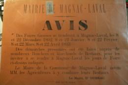 87 - MAGNAC LAVAL - AFFICHE MAIRIE -AVIS DES FOIRES GRASSES 1892- DOCTEUR DUBRAC MAIRE -IMPRIMEUR TH.CLOCHARD BELLAC - Afiches