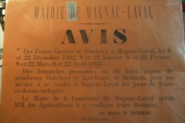 87 - MAGNAC LAVAL - AFFICHE MAIRIE -AVIS DES FOIRES GRASSES 1892- DOCTEUR DUBRAC MAIRE -IMPRIMEUR TH.CLOCHARD BELLAC