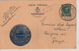 Entier CP 35c C.Touristique Middelkerke En 1935 + Vignette La Croix Bleue Du Littoral V.Gand PR1462 - Stamped Stationery