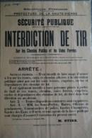 87 -  LIMOGES - RARE  AFFICHE SECURITE PUBLIQUE 1932- INTERDICTION DE TIR- M. STIRN