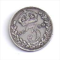 GRANDE BRETAGNE - 3  Pence  1889 - 1816-1901 : Frappes XIX° S.