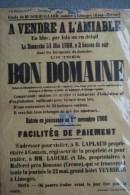 87 -LIMOGES -CHAMBOURSAT COUZEIX- RARE AFFICHE BOUQUILLARD-1908 VENTE DOMAINE -LAPLAUD- M. LADURE A MALLERET BOUSSAC-