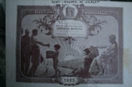 87 - SAINT LEONARD DE NOBLAT - RARE DIPLOME ELECTIONS MUNICIPALES JEAN DEVAUX-1925- CONSEILLER MUNICIPAL - Diplômes & Bulletins Scolaires
