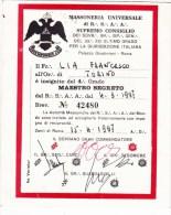 CO-262 TESSERA MASSONICA - MASSONERIA UNIVERSALE DI R.S.A.A. SUPREMO CONSIGLIO MAESTRO SEGRETO - Documentos Históricos