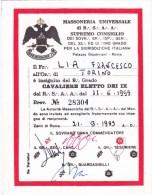 CO-263 TESSERA MASSONICA - MASSONERIA UNIVERSALE DI R.S.A.A. SUPREMO CONSIGLIO CAVALIERE ELETTO DEI IX - Documentos Históricos