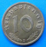 Allemagne Germany Deutschland 3�me Reich 10 reichspfennig 1937 D km 92 SUPERBE !!!