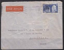 = Enveloppe De Saint Denis Réunion à Bordeaux Timbre N°302 Abbaye De Saint Wandrille 8f CFA Sur 25f - Covers & Documents