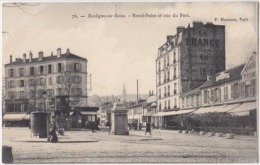 1943-France 92-Boulogne Sur Seine-Rond Point Et Rue Du Port-Animee-Pissotiere-Enseignes Publicitaire-Ed P Marmuse - France
