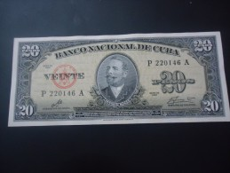 1960 CUBA RARE 20 PESOS ( P 80 ) - aUNC -