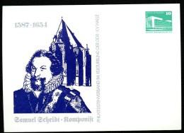 DDR PP18 B2/015 Privat-Postkarte SAMUEL SCHEIDT KOMPONIST Halle 1987 - Musica
