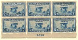 "USA SC #650 MNH PB6  1928 Aeronautics Conf. #19658 W/sm Surf Adh (perf?) UR Stamp Below ""O"" Of ""POSTAGE"", CV $70.00 - Plate Blocks & Sheetlets"