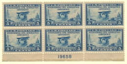 "USA SC #650 MNH PB6  1928 Aeronautics Conf. #19658 W/sm Surf Adh (perf?) UR Stamp Below ""O"" Of ""POSTAGE"", CV $60.00 - Plate Blocks & Sheetlets"