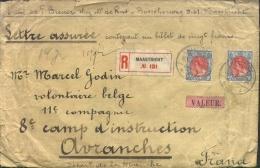 "Assur�brief Maastricht / Nederland 1915 naar 8� Camp d'Instruction Avranches: ""contenant un billet de vingt francs""."