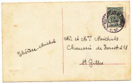 1910 FANTASIEKAART MET PZ 53 VAN BRUXELLES(PORTE DE FLANDRE) NAAR S. GILLES ZIE SCAN(S) - 1893-1907 Armoiries