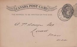 CANADA 1894 - One Cent Ganzsache Auf Pk Gel.n.USA Mass - 1860-1899 Victoria
