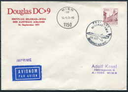1971 Serbia Belgrade - Austria Wien Douglas DC 9 Austrian Airlines First Flight Cover - Airmail