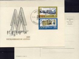 Souvenir Frühjahrmesse Leipzig 1973 DDR 1832/3 Messe-Gedenkblatt SST 5€ Häcksler280 Drehbank DFS400 Fair Card Of Germany - Marchés