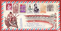 Illustrierter Umschlag Stierkampf, Luftpost, MiF Rotes Kreuz U.a., Mallorca Nach Wuppertal Ca. 1974 (69425) - 1931-Heute: 2. Rep. - ... Juan Carlos I