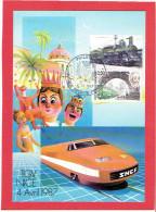 INAUGURATION DE LA LIGNE DU T.G.V. PARIS MARSEILLE TOULON NICE 4 AVRIL 1987 CARTE EN TRES BON ETAT - Trains