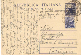 J380) ITALIA CARTOLINA POSTALE DEMOCRATICA 4 LIRE DEL 1947 VIAGGIATA - Postwaardestukken