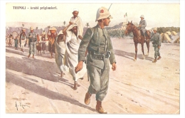 AFRICA - LIBIA - TRIPOLI - A. ROSSI SIGNED POSTCARD 1918 - ARAB PRISONERS - Libya