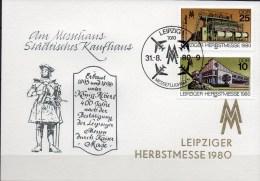 Souvenir Herbstmesse 1980 DDR 2539/0 Messe-Gedenkblatt SST 5€ Leipzig-Information+Teppich-Maschine Fair Card Of Germany - Markets