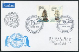 2008 A.A.T. Antarctic Aurora Australis IPY Polar Penguin Ship Research Expedition Mawson Postcard - Covers & Documents