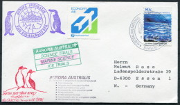 1992 A.A.T. Antarctic Aurora Australis Ship Marine Science Research Expedition Penguin Mawson Cover - Covers & Documents