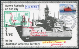 1991 A.A.T. Antarctic Aurora Australis Ship Research Expedition Penguin Mawson Postcard - Covers & Documents