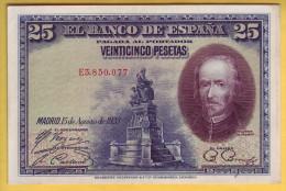 ESPAGNE - Billet De 25 Pesetas. 15-08-1928. Pick: 74b. SUP+ - 1-2-5-25 Pesetas