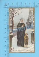 Santini Holy Card Image Pieuse ( NB-3591,St. Vincent De Paul, Dorure ) Chromo, Milieu 20e Siecle Recto/verso - Images Religieuses