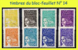 TIMBRES DU BLOC-FEUILLET : MARIANNE DE LUQUET 2002 - COULEURS DE MARIANNE EN EUROS - OBLITÉRÉS B - - 1997-04 Marianne (14. Juli)
