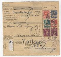 Schweiz Michel No. 169 , 195 , 200 , 203 , 206 auf Paketkarte Perfin