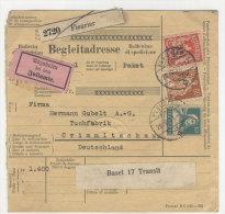Schweiz Michel No. 140 , 194 , 203 auf Paketkarte Perfin
