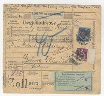 Schweiz Michel No. 196 , 208 auf Paketkarte