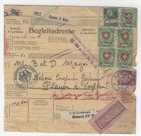 Schweiz Michel No. 194 , 203 , 208 auf Paketkarte