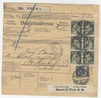 Schweiz Michel No. 107 , 169 auf Paketkarte