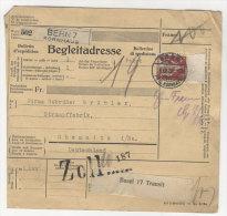 Schweiz Michel No. 109 auf Paketkarte
